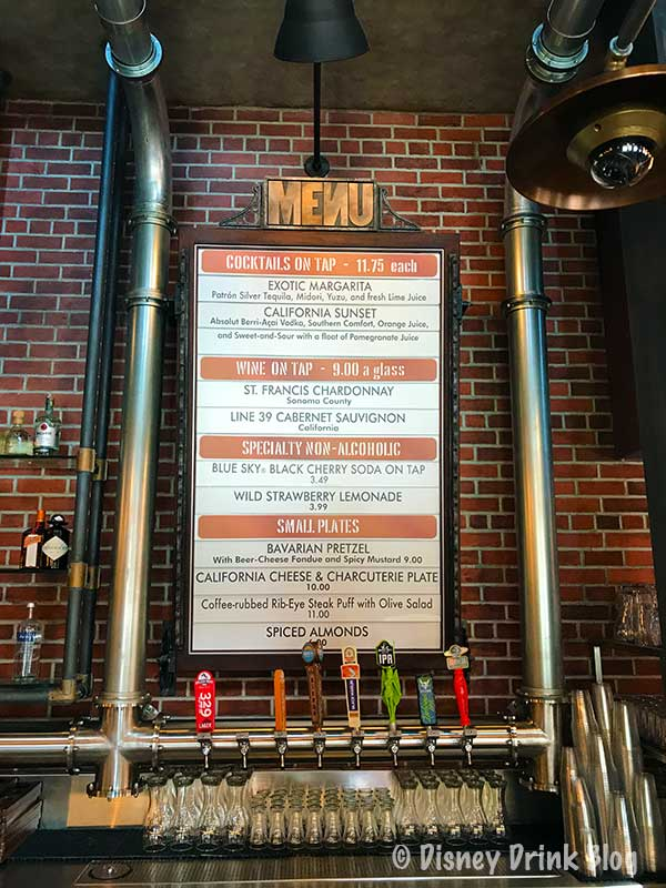 Disney's Hollywood Studios Baseline Tap House Menu