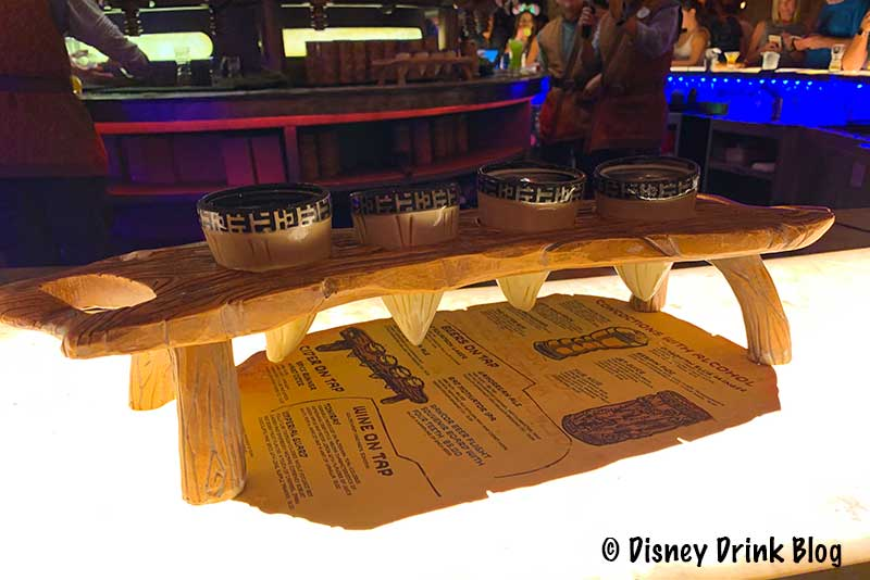 Oga's Cantina Review Rancor Beer Flight Souvenir Board with Four Teeth