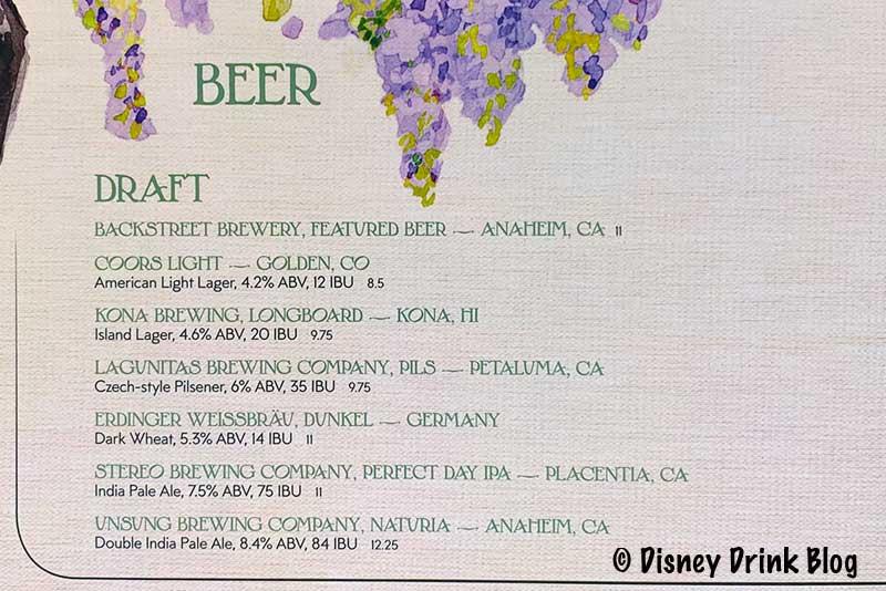 Disneyland GCH Craftsman Bar Beer Menu