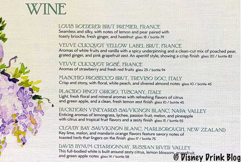 Disneyland GCH Craftsman Bar Wine Menu